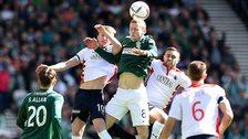 Hibernian and Falkirk players