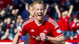 Adam Rooney celebrates after scoring for Aberdeen against Dundee United