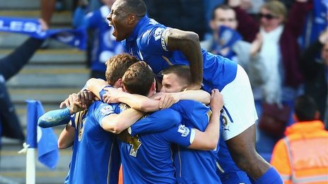 Leicester celebrate during their win over Swansea
