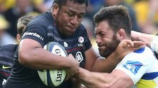 Saracens Mako Vunipola is tackled by Clermont's Jamie Cudmore