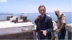 Orla Guerin on dockside