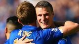 Leicester's Andy King and Robert Huth