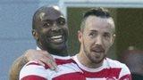 Jason Scotland (centre) celebrates Hamilton's opening goal