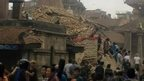 A collapsed building in Patan Durban Square, Kathmandu