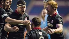 Edinburgh celebrate their victory over Zebre