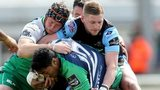 Connacht's Bundee Aki and Eoin McKeon battle with Glasgow's Finn Russell