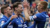 Joe Mason celebrates putting Cardiff City 1-0 up