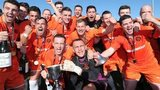 Carrick Rangers celebrate promtion to the Irish Premiership