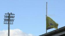 Fermanagh GAA flag at half mast at Brewster Park