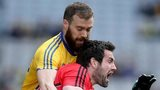Roscommon's Senan Kilbride challenges Down's Kevin McKernan at Croke Park