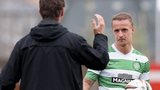Celtic manager Ronny Deila congratulates Leigh Griffiths