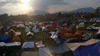 Tents in the open in Kathmandu 26/04/2015