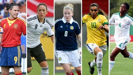 Award nominees Veronica Boquete, Nadine Kessler, Kim Little, Marta and Asisat Oshoala