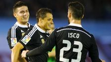 Javier Hernandez celebrates with team-mates