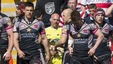 Salford Red Devils retreat after conceding a try against Leigh