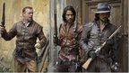 Captain Treville (HUGO SPEER), D'Artagnan (LUKE PASQUALINO) and Aramis (SANTIAGO CABRERA) launching a rescue mission