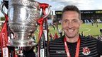 Crusaders manager Stephen Baxter with the Gibson Cup
