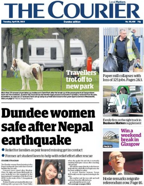 The Courier front page