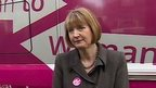 Adam Fleming with Harriet Harman and Labour's pink bus