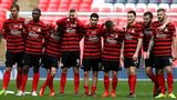 Wrexham's players during the FA Trophy penalty shoot-out