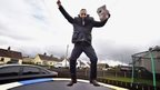 Democratic Unionist Party Westminster candidate Ian Paisley Jr on a trampoline whilst out canvassing in Ballymoney, Northern Ireland