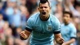 Sergio Aguero celebrates scoring against Tottenham