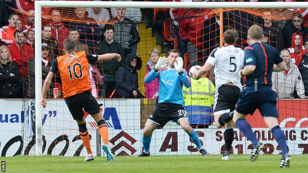 Aaron Muirhead scores for Dundee Untied against Aberdeen