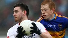 Padraig Hampsey of Tyrone in possession against Tipperary's Josh Keane