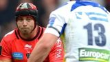 Leigh Halfpenny's path is blocked by Jonathan Davies