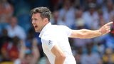 James Anderson celebrates taking a wicket