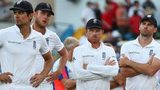 A disconsolate England after their defeat in Barbados