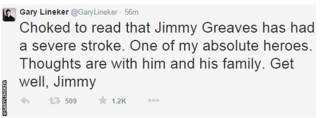 Gary Lineker tweet in support of Jimmy Greaves