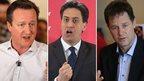Clegg Cameron Miliband
