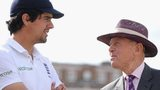 England captain Alastair Cook speaks with Geoffrey Boycott after drawing the first Test match against India at Trent Bridge on 13 July 2014