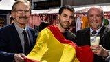 Milk Cup chairman Victor Leonard with Spanish football fan Miguel Serna and Dale Farm commercial director Jason Hempton