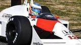 Fernando Alonso driving Ayrton Senna's McLaren MP4/4