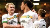 Gary Mackay-Steven, Virgil van Dijk and Leigh Griffiths celebrate