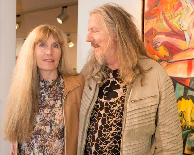 Wolfgang and his wife Helene at his art exhibition in Munich