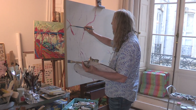 Wolfgang is painting in the style of George Brecht