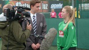 Caroline being interviewed