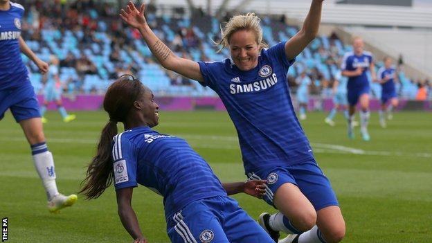 Eniola Aluko (l) celebrates her goal with Gemma Davison