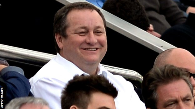Mike Ashley in the stand at Newcastle