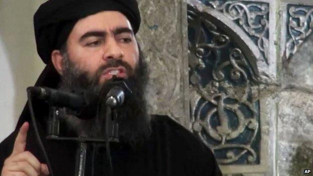 Abu Bakr al-Baghdadi gives a sermon at a mosque in Mosul (5 July 2014)
