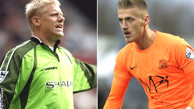 Peter Schmeichel and Daniel Bentley