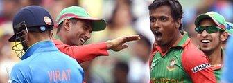 Bangladesh's Rubel Hossain celebrates dismissing India's Virat Kohli