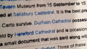 Stitching done by School Reporters in Magna Carta replica
