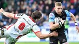 Finn Russell of Glasgow Warriors attacks Ulster