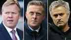 Southampton manager Ronald Koeman, Swansea boss Garry Monk and Chelsea manager Jose Mourinho