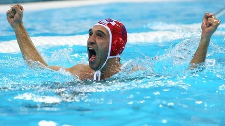 Goalkeeper Josip Pavic celebrates Croatia's water polo gold medal