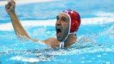 Goalkeeper Josip Pavic celebrates Croatia's water polo gold medal
